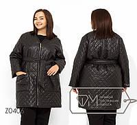 Женское стеганное пальто в больших размерах на молнии TFMZ0406