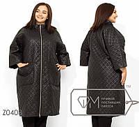 Женское пальто стежка в больших размерах на молнии TFMZ0408, фото 1