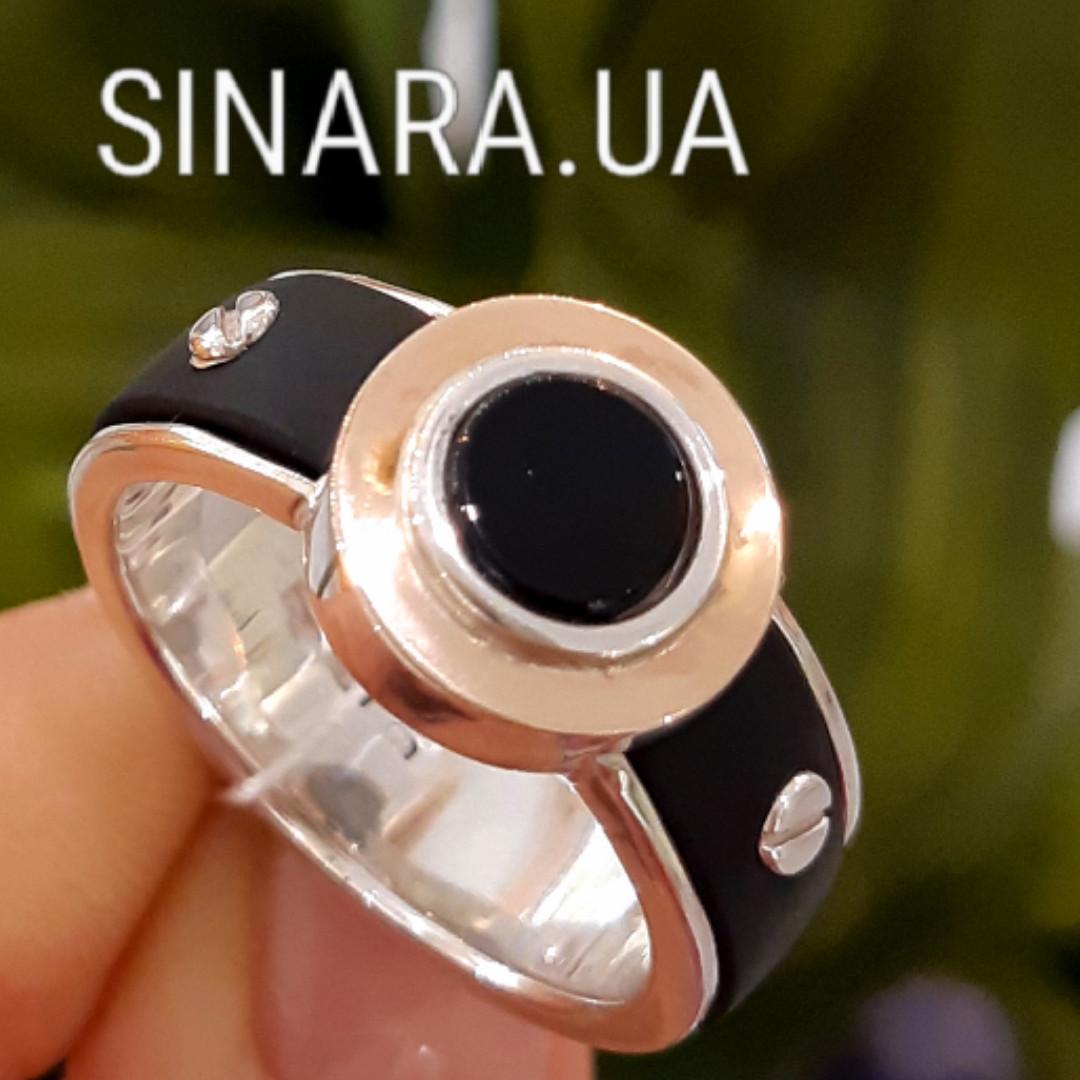 Мужское серебряное кольцо Барака Baraka с золотом, ониксом и каучуком