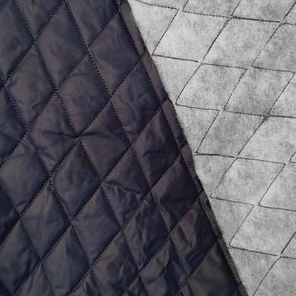 Плащевка стеганная на синтапоне темно-синяя ромб, фото 2