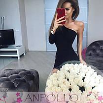 Платье обтягивающее мини из вискозы на одно плечо, фото 3
