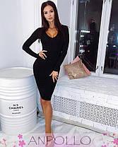 Платье миди с декольте и длинным рукавом вискоза, фото 2