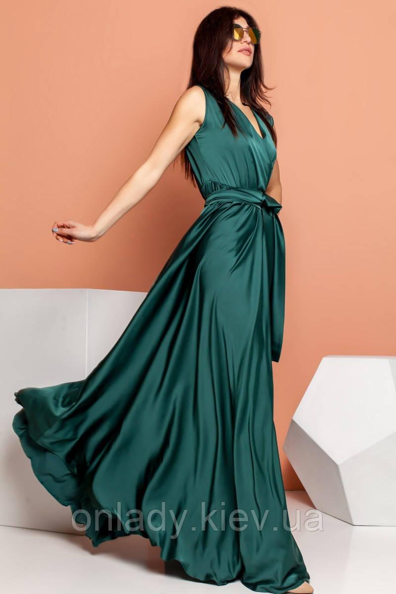 9851fe0cd53 Длинное зеленое платье с вырезом (S