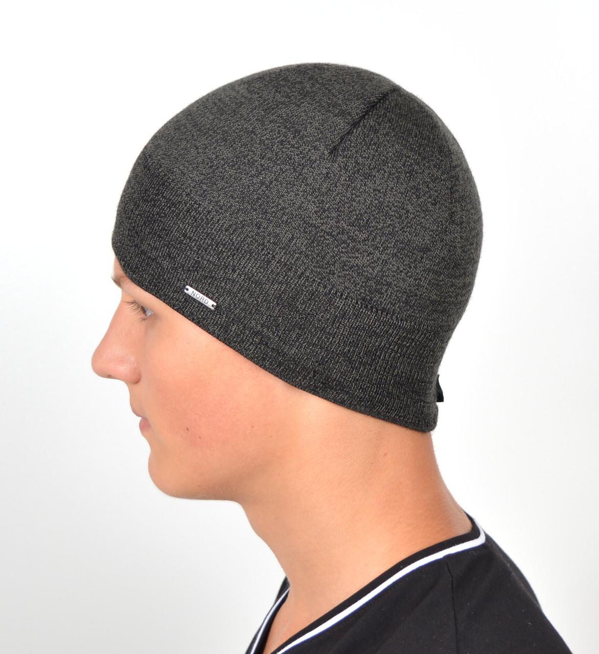 Мужская вязаная шапка Норд на флисе 15046-Серый меланж