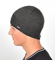 Мужская вязаная шапка Норд на флисе 15046-Серый меланж, фото 1