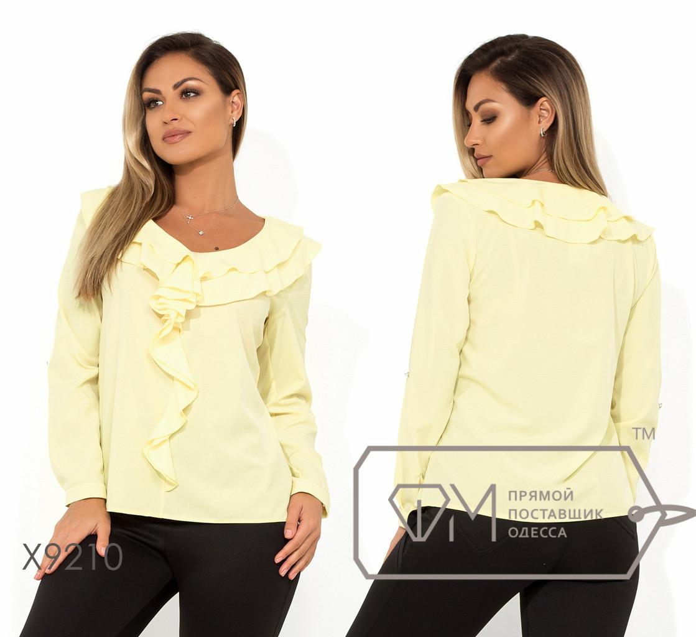 Женская прямая блуза батал с оборками FMX9210