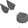 Комплект аксесуарів HAURATON TOP Х для чорного жолоба: 2 глухі заглушки та вертик. випуск