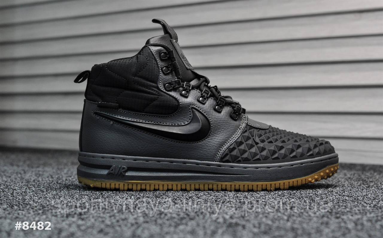 Кроссовки мужские черные Nike Lunar Force Black Gray (реплика)