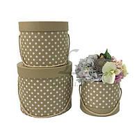 Набор подарочных коробок под цветы в горошек Bergenia, материал: картон, тип: коробка, форма: круглая, цвет: хаки, размер L: 23x19.5 cm, размер M: