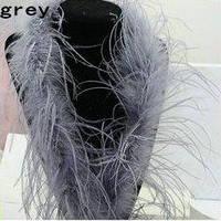 Боа из страусовых перьев. 2метра. Цвет серый.