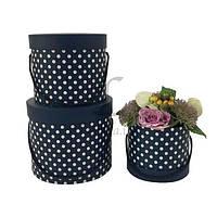 Набор подарочных коробок под цветы в горошек Choricarpia, материал: картон, тип: коробка, форма: круглая, цвет: синий, размер L: 23x19.5 cm, размер M:
