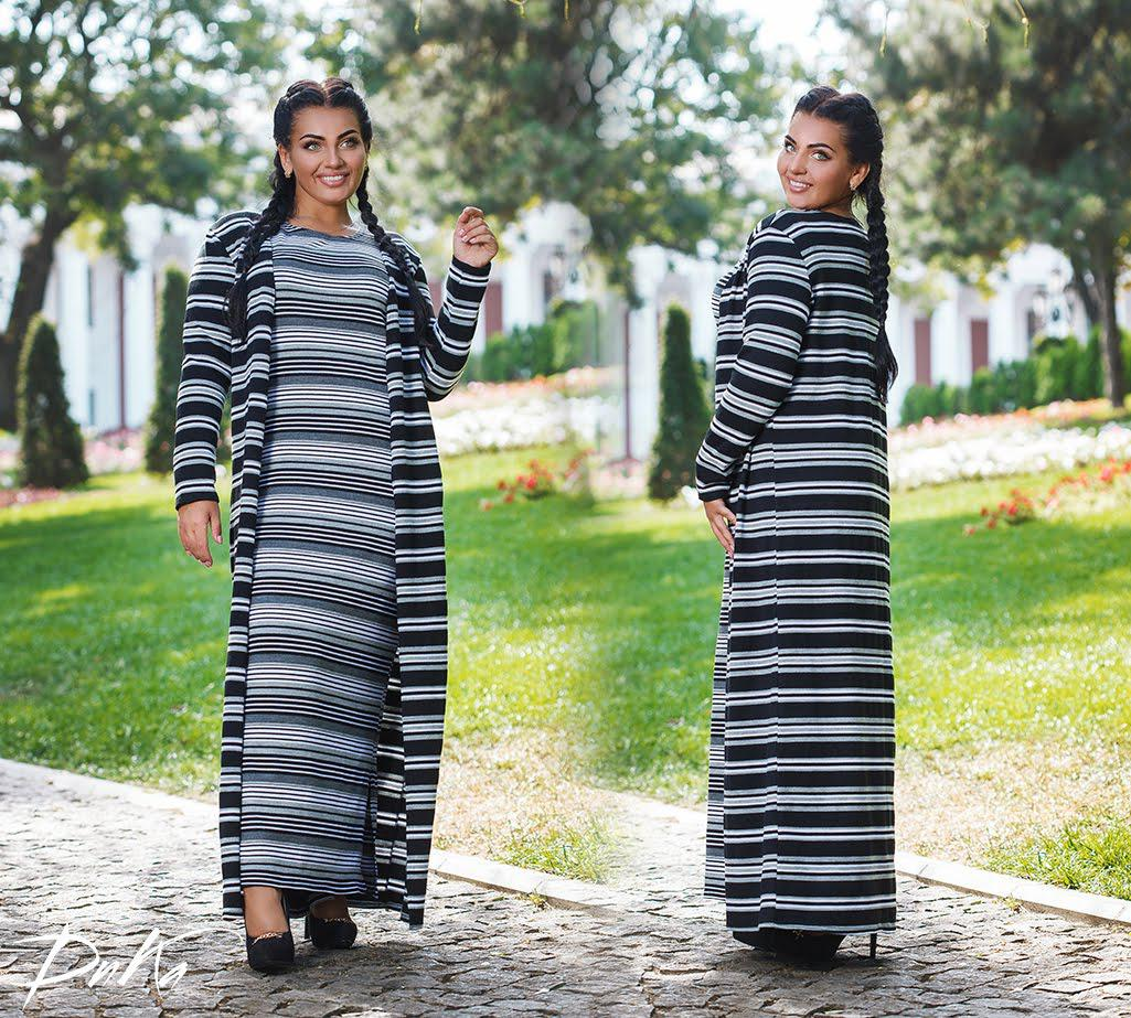 Комплект платье +кардиган БАТАЛ 04с41127