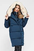 Длинная стильная женская зимняя парка с капюшоном