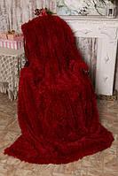 """Меховой плед-покрывало """"травка"""" с длинным ворсом 220х240 Красный"""