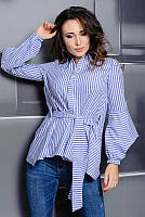 Женская рубашка в полоску Скай до 60 размера, фото 1