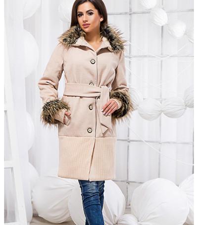 Демисезонное кашемировое пальто с мехом 818409