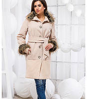 Демисезонное кашемировое пальто с мехом 818409, фото 1