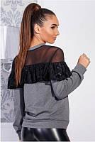 Трикотажная блуза с кружевом Летиция до 60 р