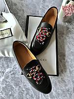 Модные кожаные лоферы Gucci с пряжкой-трензелем змейка (реплика), фото 1