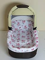 Бортики в люльку розовые коляски на белом, фото 1