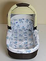 Бортики в люльку голубые коляски на белом, фото 1