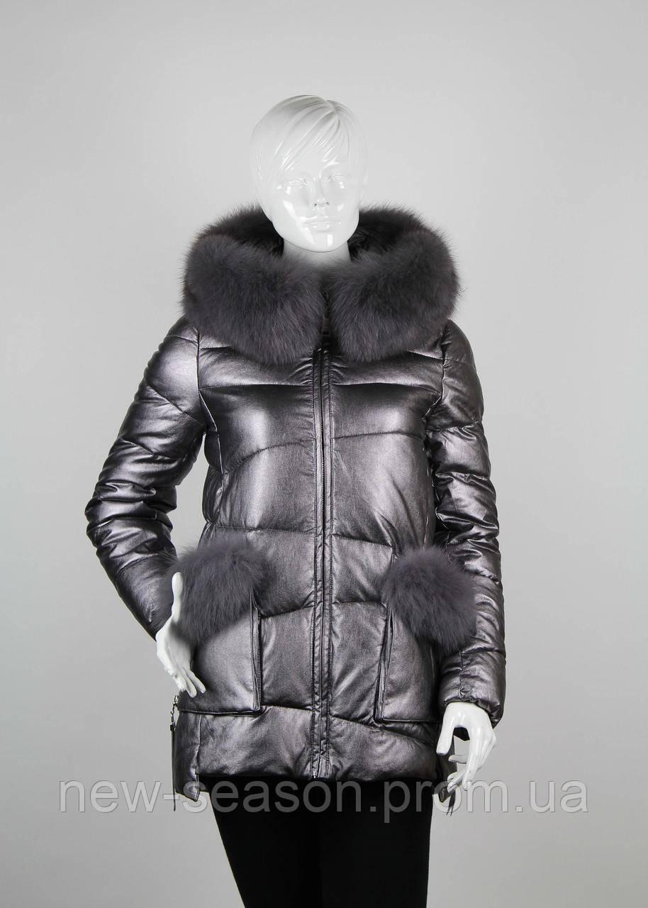 Куртка женская с мехом ZLLY (Zilanliya) 17228 графит
