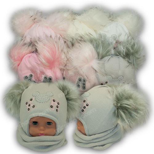 ОПТ Шапка c двумя помпонами и шарф хомут для девочки, р. 44-46 (5шт/набор)
