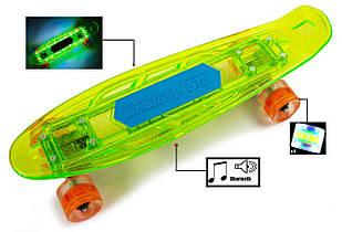 """Penny """"Fish Skateboard Original"""" Green. Музыкальная и светящаяся дека! Гарантия качества Быстрая доставка"""