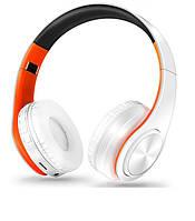 """Беспроводные складные bluetooth стерео наушники fm-радио micro SD """"LPT-660"""" бело-оранжевые"""