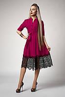 Шикарное женское платье с кружевом фуксия