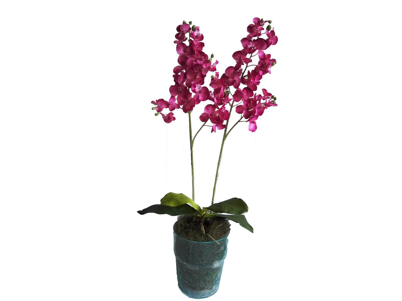 Искусственная орхидея в стеклянном вазоне розовая