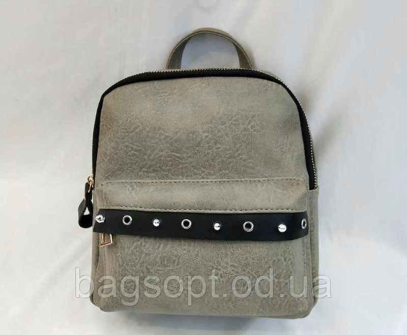 Женский рюкзак из эко-кожи серый Одесса 7 км