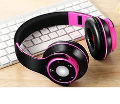 """Беспроводные складные bluetooth стерео наушники fm-радио micro SD """"SG-8"""" черно-розовые"""
