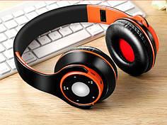 """Беспроводные складные bluetooth стерео наушники fm-радио micro SD """"SG-8"""" черно-оранжевый"""