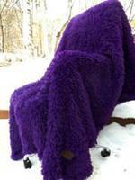 """Меховой плед-покрывало """"травка"""" с длинным ворсом 220х240  Фиолетовое"""