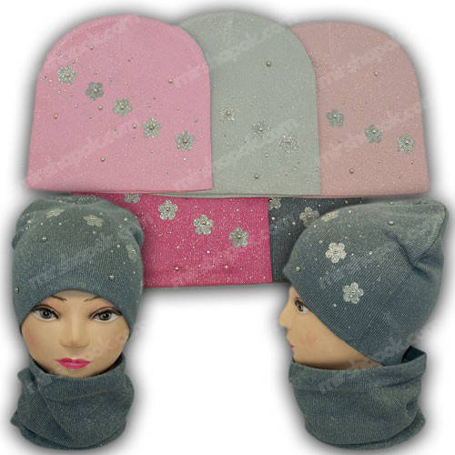 Вязанная шапка c хомутом для девочек, р. 52-54