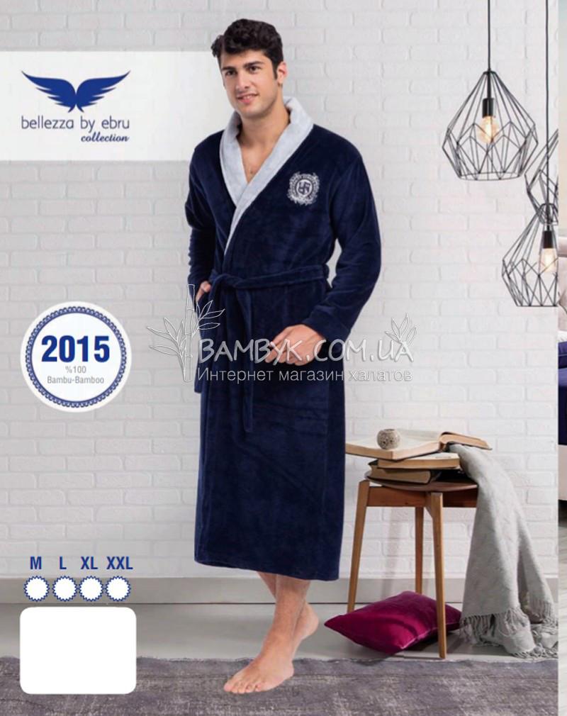 9444818d3b582 Мужской халат Bellezza By Ebru бамбуковый синего цвета №2015 -  интернет-магазин