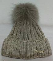 Женские, подростковые шапки шерстяные с помпоном из натурального меха ША-323