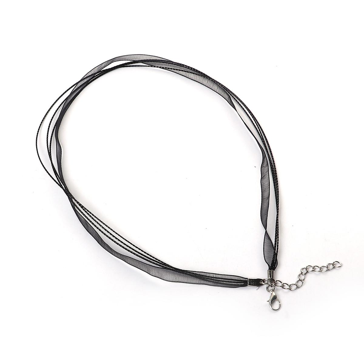 Основа-колье, подвески, шнур, ожерелье, Лента из органзы & Вощеный шнур, Черный цвет, 44,5 см + удлинитель