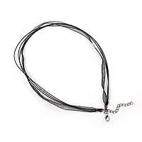 Основа-колье, подвески, шнур, ожерелье, Лента из органзы & Вощеный шнур, Черный цвет, 44,5 см + удлинитель, фото 1