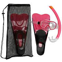 Набор для снорклинга Caraibes 100 для взрослых Subea Pink маска + ласты + трубка 38/39 Розовый (20181116V-748)