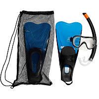 Набор для снорклинга Caraibes 100 для взрослых SUBEA Blue маска + ласты + трубка 44/45 Синий (20181116V-745)
