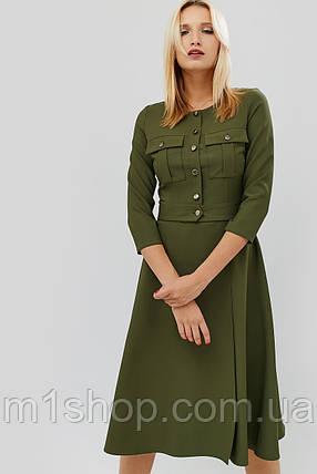 Приталенное расклешенное платье с карманами на груди (Ortex crd), фото 2