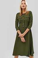 Приталенное расклешенное платье с карманами на груди (Ortex crd)