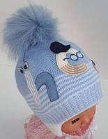 """ОПТ Шапка для мальчика """"HEY"""", для новорожденных, на махре, код ММ1470"""