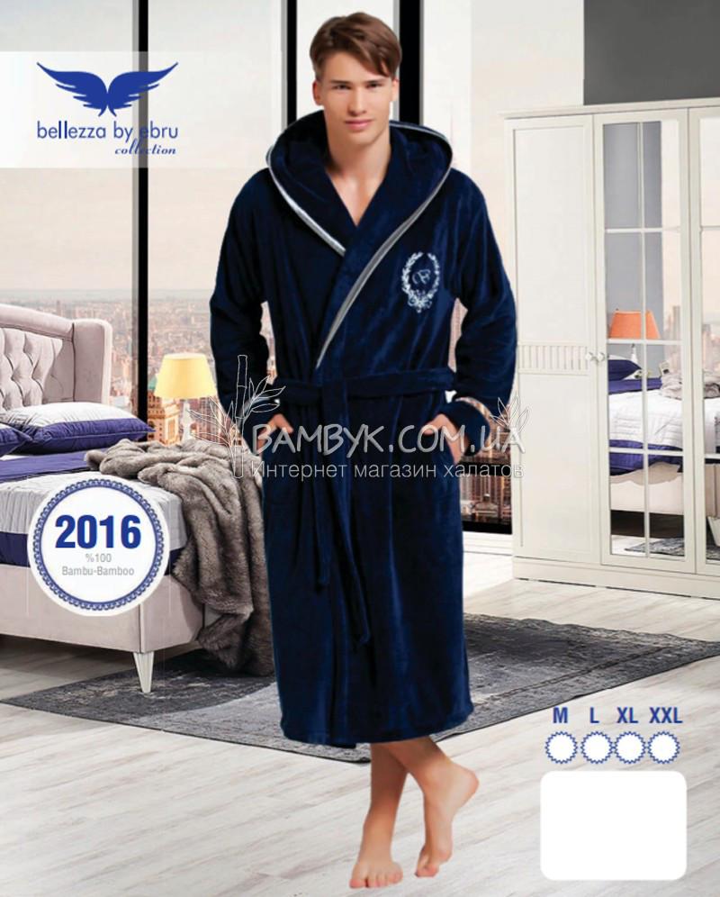 4d8368336fbd5 Мужской халат Bellezza By Ebru бамбуковый синего цвета №2016 -  интернет-магазин