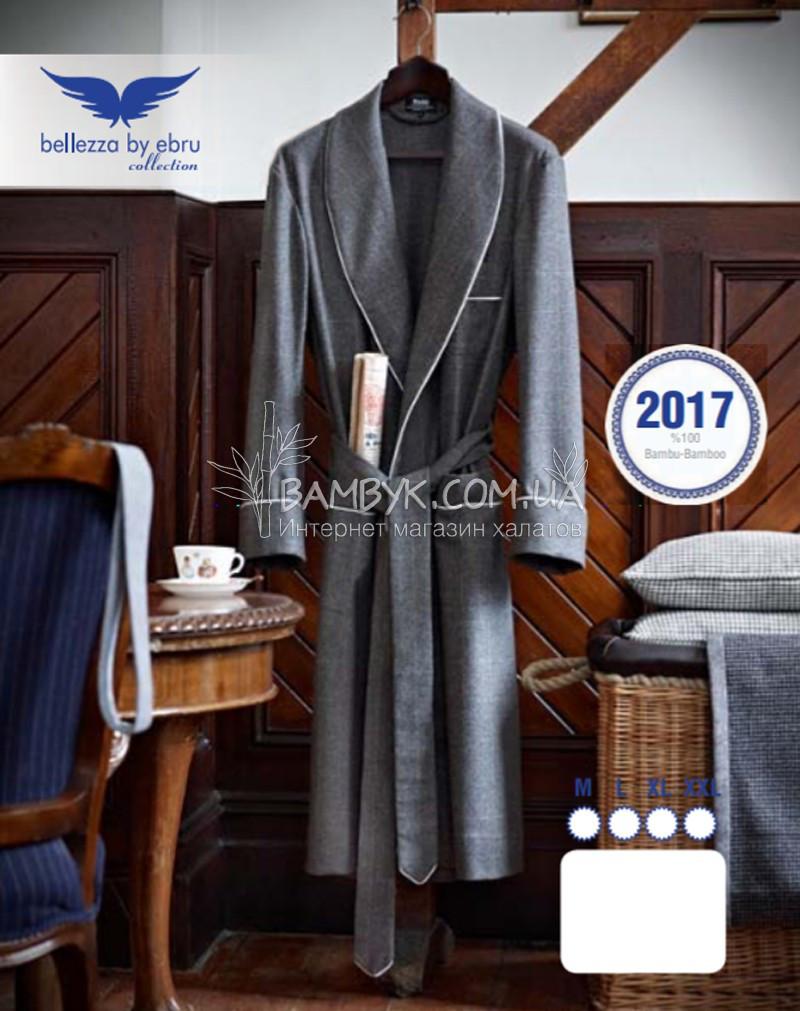 ebd809f1d1874 Мужской халат Bellezza By Ebru бамбуковый серого цвета №2017 -  интернет-магазин