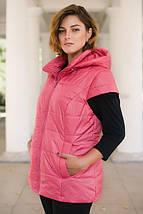 Женский жилет большого размера 56 - 66 р розовая, фото 3