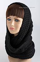 Вязаный шарф-хомут Н-122 черный