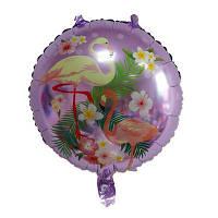 """Фольгований повітряна кулька круглий """"Фламінго"""". 45см"""